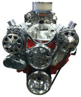 Billet Serpentine System Small Block Chevy W/ AC & W/O PS; Polished Finish - All American Billet FDS-SBC-102