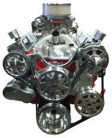 Billet Serpentine System Small Block Chevy W/O AC & W/ PS; Polished Finish - All American Billet FDS-SBC-103