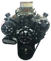 Billet Serpentine System Small Block Chevy W/ AC & W/O PS; Silverline Series - All American Billet FDS-SBC-202