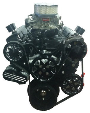 Billet Serpentine System Small Block Chevy W/O AC & W/ PS; Silverline Series - All American Billet FDS-SBC-203