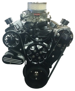 Billet Serpentine System Small Block Chevy W/O AC & PS; Silverline Series - All American Billet FDS-SBC-204