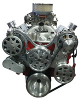 Billet Serpentine System Small Block Chevy W/ AC & PS; Machined Finish - All American Billet FDS-SBC-301