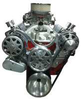 Billet Serpentine System Small Block Chevy W/ AC & W/O PS; Machined Finish - All American Billet FDS-SBC-302