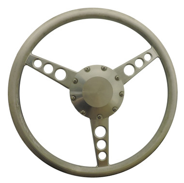"Billet 14"" Diameter Classic Steering Wheel; Machined Finish - All American Billet 4501"