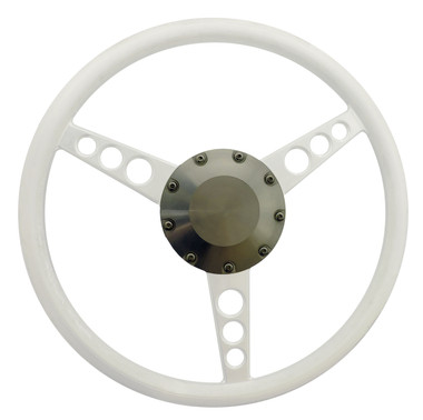 Billet Center Cap For Lecarra Style Steering Wheel; Machined Finish - All American Billet 4510