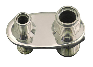 Billet A/C Bulkhead Oval W/ 2 Fittings; Polished Finish - All American Billet 4101-P