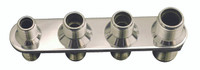 Billet A/C & Heater Bulkhead Inline W/ 4 Fittings; Polished Finish - All American Billet 4102-P