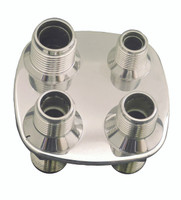 Billet A/C & Heater Bulkhead Square W/ 4 Fittings; Polished Finish - All American Billet 4103-P