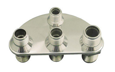 Billet A/C & Heater Bulkhead 1/2 Circle W/ 4 Fittings; Polished Finish - All American Billet 4105-P