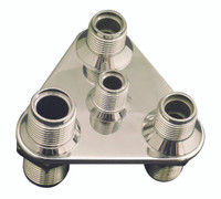 Billet A/C & Heater Bulkhead Triangle W/ 4 Fittings; Polished Finish - All American Billet 4106-P