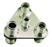 Billet A/C & Heater Bulkhead Triangle W/ 4 Fittings; Polished Finish - All American Billet 4106-P
