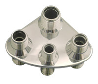 Billet A/C & Heater Bulkhead Rounded Triangle W/ 4 Fittings; Polished Finish - All American Billet 4107-P