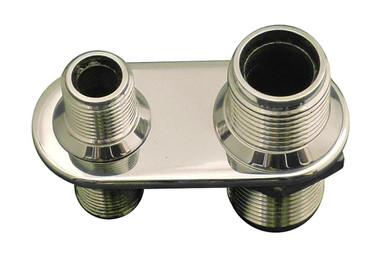 Billet A/C Bulkhead Inline W/ 2 Fittings; Polished Finish - All American Billet 4108-P