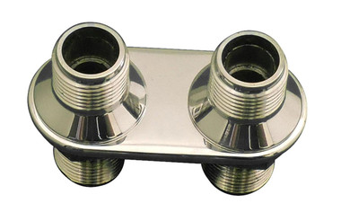 Billet Heater Bulkhead Inline W/ 2 Fittings; Polished Finish - All American Billet 4109-P