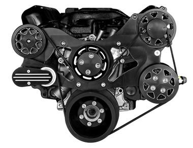Billet Serpentine System Small Block Chrysler W/O AC & W/ PS; Silverline Series - All American Billet FDS-318-203