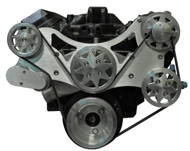 Billet Serpentine System Big Block Chevy W/O AC & W/ PS; Machined Finish - All American Billet FDS-BBC-303