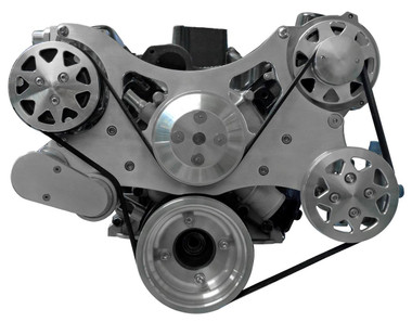 Billet Serpentine System Ford 429/460 W/O AC & W/ PS; Machined Finish - All American Billet FDS-BBF-303