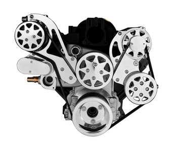 Billet Serpentine System LS1, LS2, LS3 & LS6 W/ Edelbrock Water Pump; Polished Finish - All American Billet FDS-LS-101-E