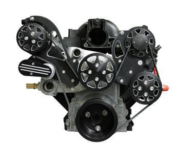 Billet Serpentine System LS1, LS2, LS3 & LS6 W/ Edelbrock Water Pump; Silverline Series - All American Billet FDS-LS-201-E