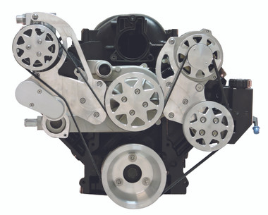 Billet Serpentine System LS1, LS2, LS3 & LS6 W/ Tuff Stuff Water Pump; Machine Finish - All American Billet FDS-LS-301