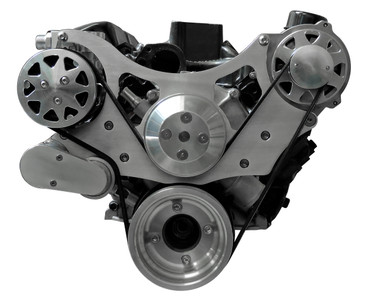 Billet Serpentine System Ford 289/302 W/ AC & W/O PS; Machined Finish - All American Billet FDS-SBF-302