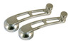 Billet Window Cranks Dual Window Cutout W/ Grooved Knob (Pair); Polished Finish - All American Billet WC-DCG-P