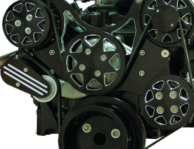 Billet Serpentine System Small Block Chevy W/O AC & PS; Silverline Supreme Series, Black - All American Billet FDS-SBC-504