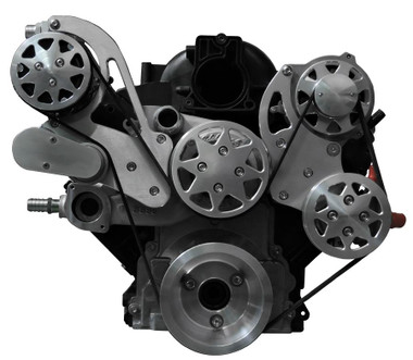 Billet Serpentine System LS7 W/ Edelbrock Water Pump; Machined Finish - All American Billet FDS-LS7-301-E