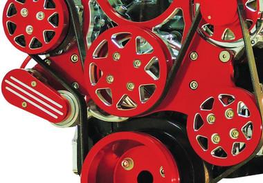 Billet Serpentine System LS7 W/ Edelbrock Water Pump; Silverline Supreme Series, Red - All American Billet FDS-LS7-601-E
