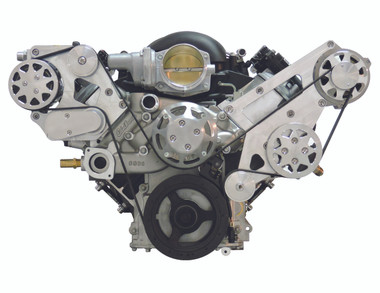 Billet Serpentine System LSX W/ Tuff Stuff Water Pump; Machined Finish - All American Billet FDS-LSX-301