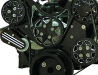 Billet Serpentine System LSX W/ Edelbrock Water Pump; Silverline Supreme Series, Black - All American Billet FDS-LSX-501-E