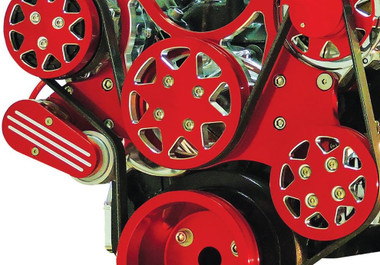 Billet Serpentine System Big Block Chevy W/O AC & W/ PS; Silverline Supreme Series, Red - All American Billet FDS-BBC-603