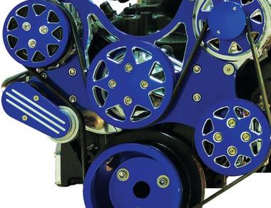 Billet Serpentine System Ford 429/460 W/ AC & W/O PS; Silverline Supreme Series, Blue - All American Billet FDS-BBF-402