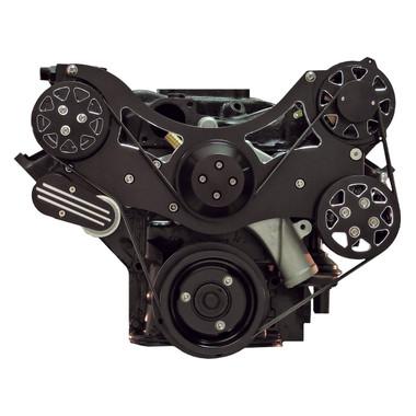 Billet Serpentine System Ford FE 390/427/428 W/ AC & W/O PS; Silverline Series - All American Billet FDS-FE-202