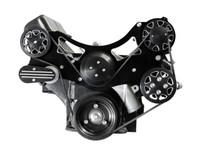 Billet Serpentine System Ford FE 390/427/428 W/O AC & W/ PS; Silverline Series - All American Billet FDS-FE-203
