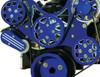 Billet Serpentine System Ford FE 390/427/428 W/O AC & PS; Silverline Supreme Series, Blue - All American Billet FDS-FE-404