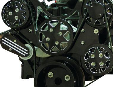 Billet Serpentine System Ford FE 390/427/428 W/ AC & PS; Silverline Supreme Series, Black - All American Billet FDS-FE-501