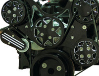 Billet Serpentine System Small Block Chrysler W/ AC & PS; Silverline Supreme Series, Black - All American Billet FDS-318-501