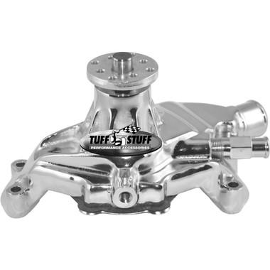 Small Block Chevy Aluminum Serpentine System Reverse Rotation Water Pump; Polished Finish - All American Billet 1635ND