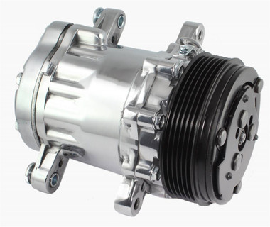 Peanut Style Air Conditioning Compressor; Polished Finish - All American Billet 4517NB6G