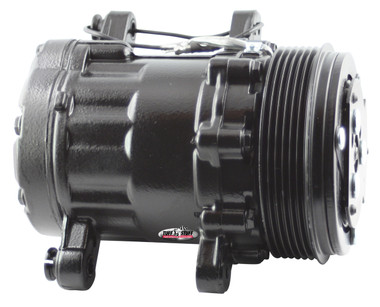 Peanut Style Air Conditioning Compressor; Black - All American Billet 4517NC6GBLACK