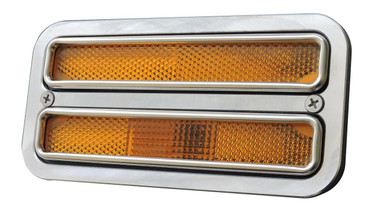 1968-1972 Chevy Truck Billet Side Marker Light Bezel, Dual Window; Polished Finish - All American Billet BSML-DW-P
