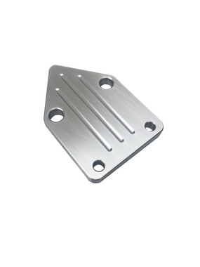 Billet Fuel Block Off Plate For Small Block Chevy; Ball Milled, Machined Finish - All American Billet FBOSBCBM