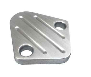 Billet Fuel Block Off Plate For Ford; Ball Milled, Machined Finish - All American Billet FBOFORDBM