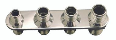 Billet A/C & Heater Bulkhead Inline W/ 4 Fittings; Machined Finish - All American Billet 4102