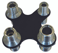Billet A/C & Heater Bulkhead X-Shape W/ 4 Fittings; Silver Line Series - All American Billet 4104-SL