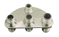 Billet A/C & Heater Bulkhead 1/2 Circle W/ 4 Fittings; Machined Finish - All American Billet 4105
