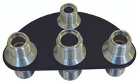 Billet A/C & Heater Bulkhead 1/2 Circle W/ 4 Fittings; Silver Line Series - All American Billet 4105-SL