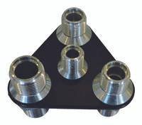 Billet A/C & Heater Bulkhead Triangle W/ 4 Fittings; Silver Line Series - All American Billet 4106-SL