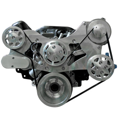Billet Serpentine System Small Block Chrysler W/ AC & PS; Machined Finish - All American Billet FDS-318-351